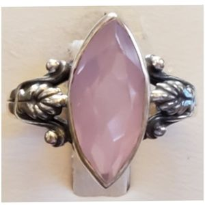 4ct Faceted Marquis Rose Quartz Ring Size 8